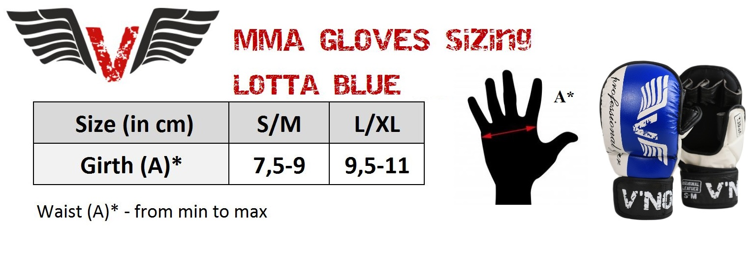 V`Noks Lotta Blue MMA Gloves size chart