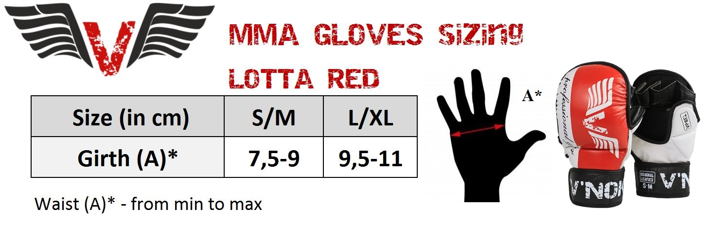 V`Noks Lotta Red MMA Gloves size chart