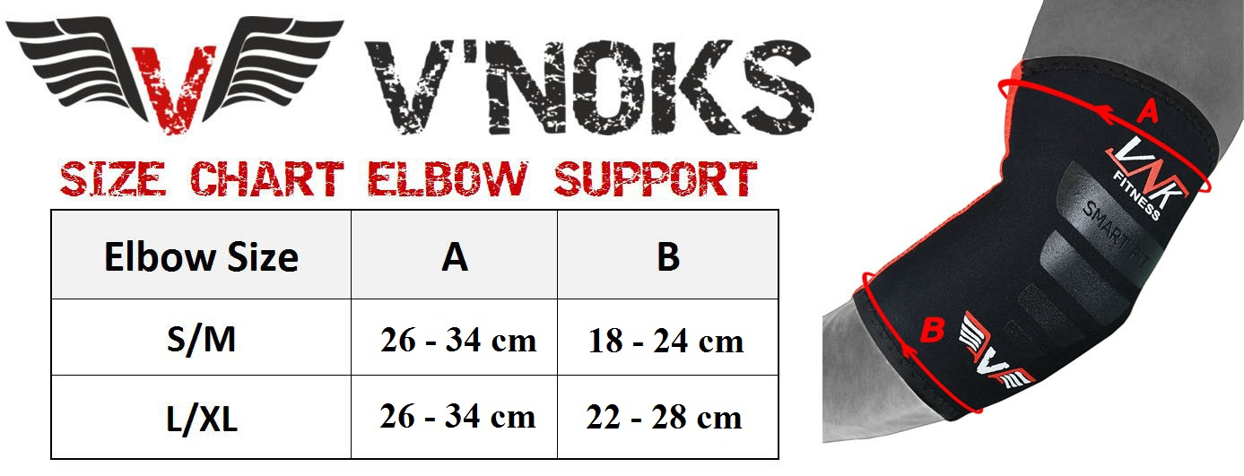 vnk neoprene tec elbow support size chart