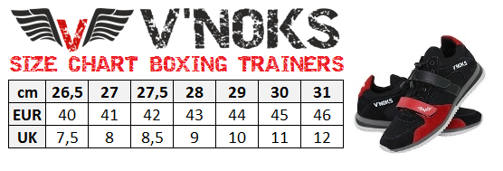 BOXING TRAINERS SIZE CHART