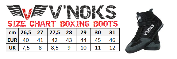BOXING BOOTS SIZE CHART