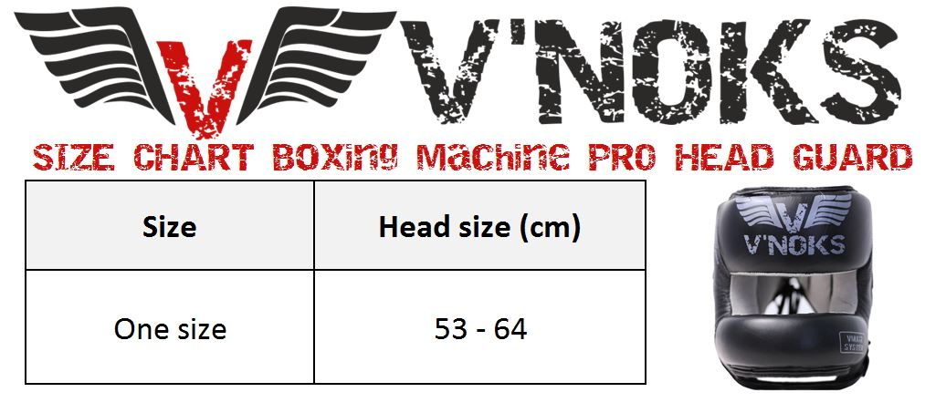 V`Noks Boxing Machine PRO HEAD GUARD size chart