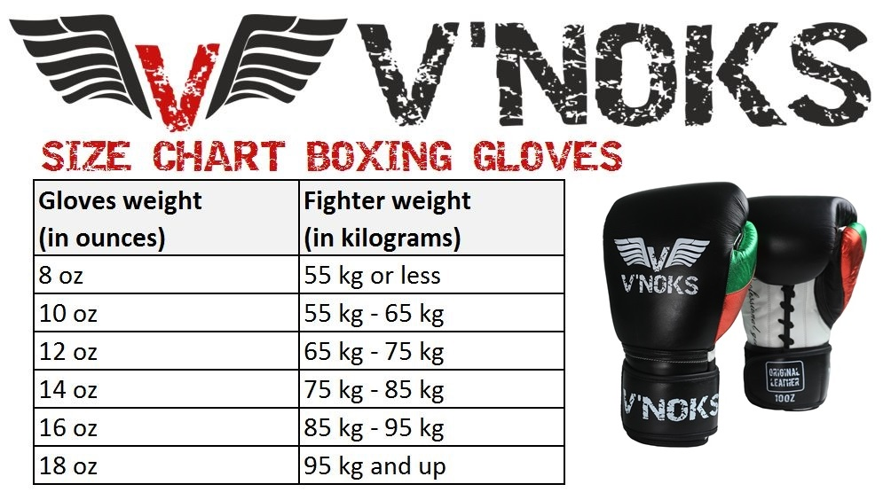 V`Noks Mex Pro Training Boxing Gloves size chart