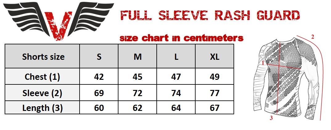 VNK Contact Rash Guard Red with long sleeve size chart