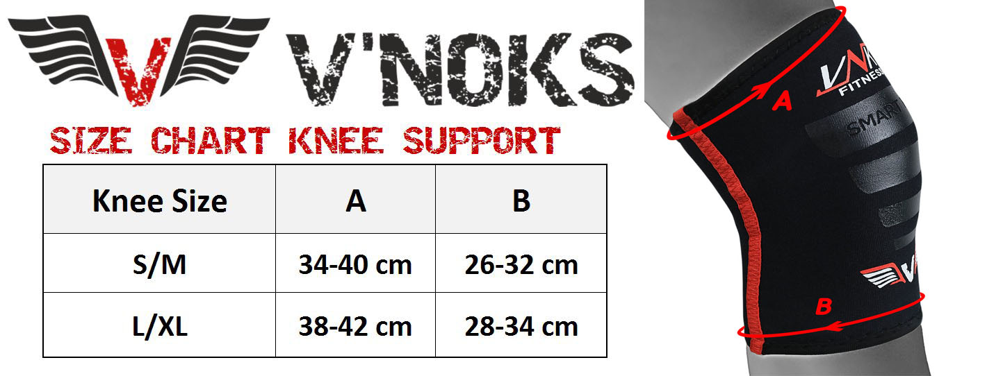 vnk neoprene tec knee support size chart