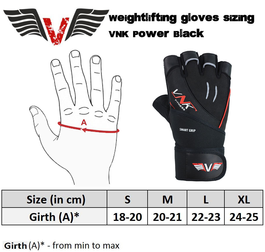 VNK Power Black Gym Gloves size chart
