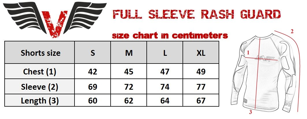 VNK Scath Rash Guard Grey with long sleeve size chart
