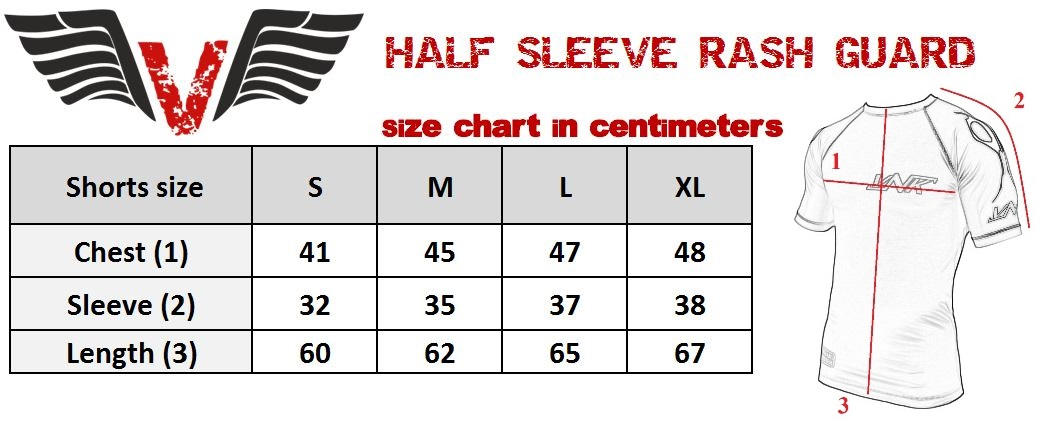 VNK Scath Rash Guard Grey with short sleeve size chart