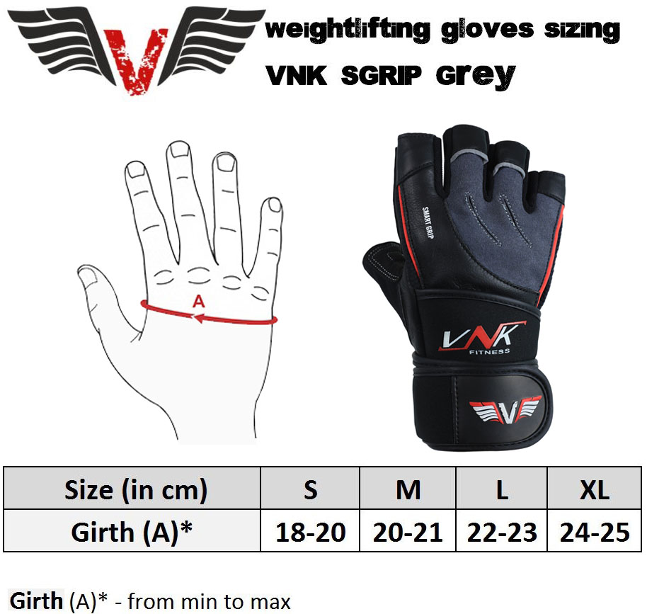 VNK SGRIP Gym Gloves Grey size chart