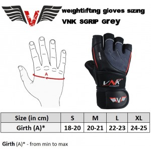 VNK SGRIP Gym Gloves Grey size S